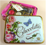 Finest Quality Vintage tin filled with chocolates