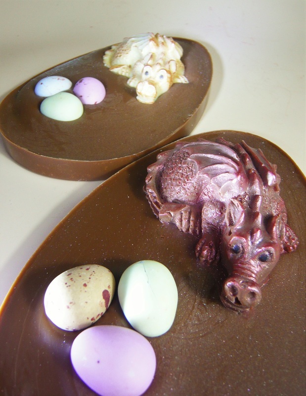 Chocolate Dragon Egg (flat) - Cathryn Cariad Chocolates