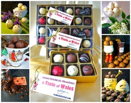 Taste of Wales Truffles Handmade Award winning Non-alcoholic Elderflower Lemon & Lavender Salted Caramel Coffee Honey