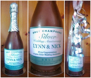 Personalised Chocolate Champagne bottles - anniversary