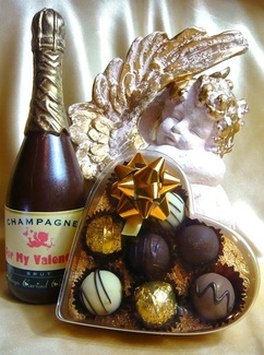Bespoke Chocolate Champagne Bottle and Truffles